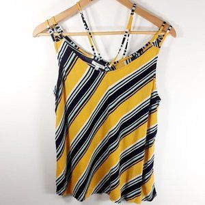 Maurices Yellow Navy Stripe Strappy Short Tank Top
